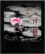 Lampada in legno nera fiore di loto