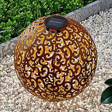 Lampada LED solare Eduta, sfera ruggine