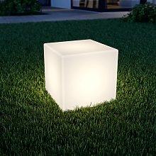 Lampada LED solare Ziva a cubo bianca