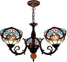 Lampadari in Stile Tiffany a 3 Luci, Lampada Da