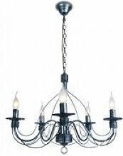 Lampadario di colore nero con decorazioni morbide