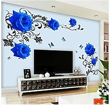 LangRay Wall Sticker Blue Roses Tendril XL Flowers
