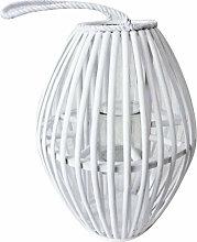 Lanterna Grigia In Vimini E Vetro Per Interno E
