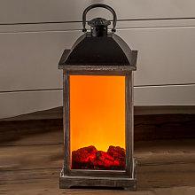 Lanterna LED in legno con effetto camino