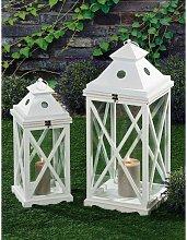 Lanterne Portacandela Porta Candele Metallo Legno