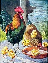 Lausra Kit Pittura Diamante 5D Famiglia di polli