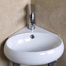 Lavabo yuri sospeso ad angolo in ceramica bianca