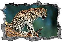Leopard Wall Art Safari 3D animali adesivo