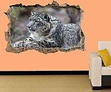 Leopardo Sdraiato Sulla Roccia Adesivo Murale
