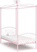 Letto a Baldacchino Rosa in Metallo 100x200 cm -