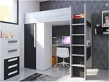 Letto a soppalco con armadio e scrivania 90 x 200