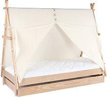 Letto bambino tenda con cassetto in legno e cotone