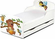 Letto per bambini in legno con cassetto e