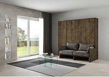 Letto verticale a scomparsa con divano e colonna