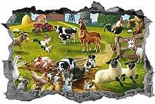 LHHYY Adesivi murali Animali da fattoria, adesivo,