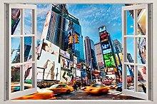 LHHYY adesivo da parete New York City 3d finestra