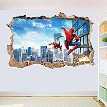 LHHYY adesivo murale Iron Man and City Mural 3D
