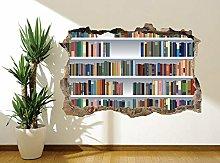 Libreria finta 3d foto adesivo da parete murale