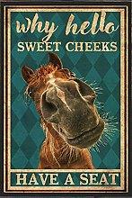 Libro Poster Targa in metallo Cavallo divertente