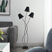 Lindby Komalie piantana, 3 luci, nero