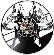 LINMING Horloge murale en vinyle Doberman Pinscher