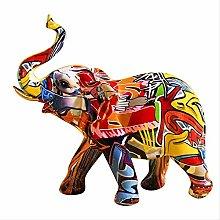 LISAQ Creativo colorato Graffiti Elefante Scultura