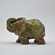 LISAQ Fiore Pietra Verde Elefante Statua Scultura