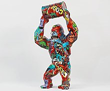 LISAQ Gorilla Scultura Angry Gorilla Paint Bucket