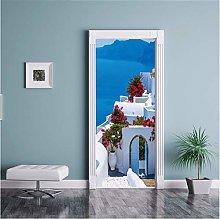LMTQAZQ Adesivi per Porte 3D Grecia Santorini Blu
