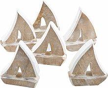 Logbuch-Verlag - 6 piccole barche a vela in legno,