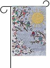 LORONA - Bandiera da giardino con uccelli, su