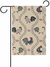 LORONA Chicken Cock (2) Bandiera da Giardino