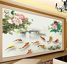 Lovemq Carta Da Parati 3D Peony Goldfish Murale