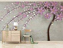 Lovemq Carta Da Parati Murale Con Petali Viola 3D