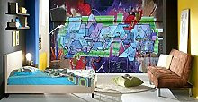 Lovemq Carta Da Parati Murale Viola 3D Adesivo