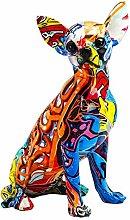 LOVIVER Colorato Artigianato Cane Figurine Statua