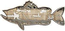 LOVIVER Pesce in legno scultura da parete