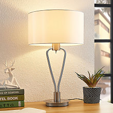 Lucande Gyda lampada da tavolo, nichel satinato