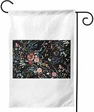 Luckchn, bandiera da giardino, motivo floreale,