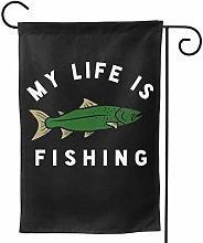 Luckchn - Bandiera da giardino My Life is Fishing,
