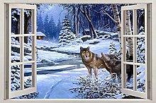 Lupi nella finestra della neve Visualizza