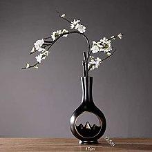 LZQBD Vasi, Grande Vaso Di Resina Decorativa Nera
