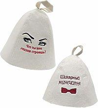 MagiDeal Set di 2 Cappelli per Sauna, Banya Russa,