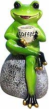 MagiDeal Verde Rana Seduta sulla Statua di Pietra