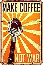 Make Coffee Not War Tin 20X30 CM Vintage Look