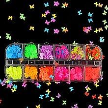 MALAT 5mm Neon Farfalla Forma Nail Art Glitter