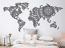 Mandala Mappa Del Mondo Adesivo Da Parete