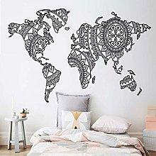 Mandala Mappa Del Mondo Adesivo Murale Decorazioni