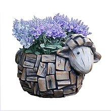 Mankvis Vaso di Fiori con Statua di Capra,