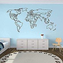 Mappa Del Mondo Adesivo Murale World Outline